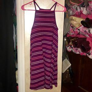Maroon Striped Swing Dress